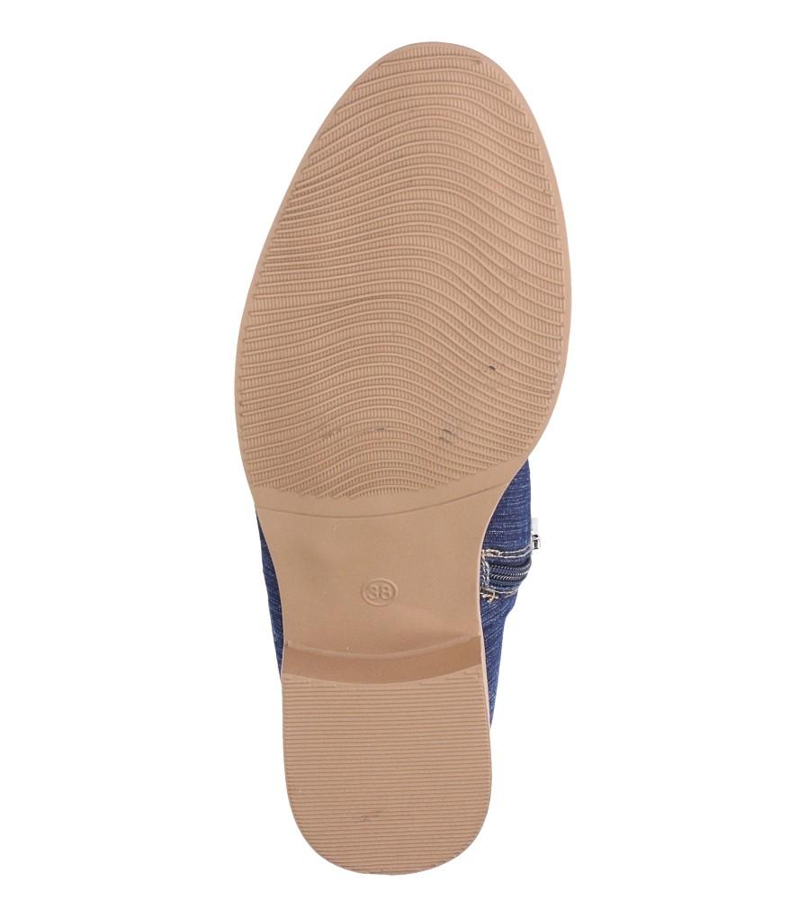 Niebieskie trzewiki jeansowe sznurowane Jezzi ASA142-8 wnetrze materiał