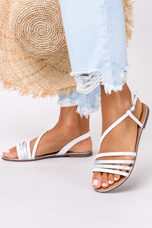 Perłowe sandały metaliczne płaskie Casu S19X6/W producent Casu