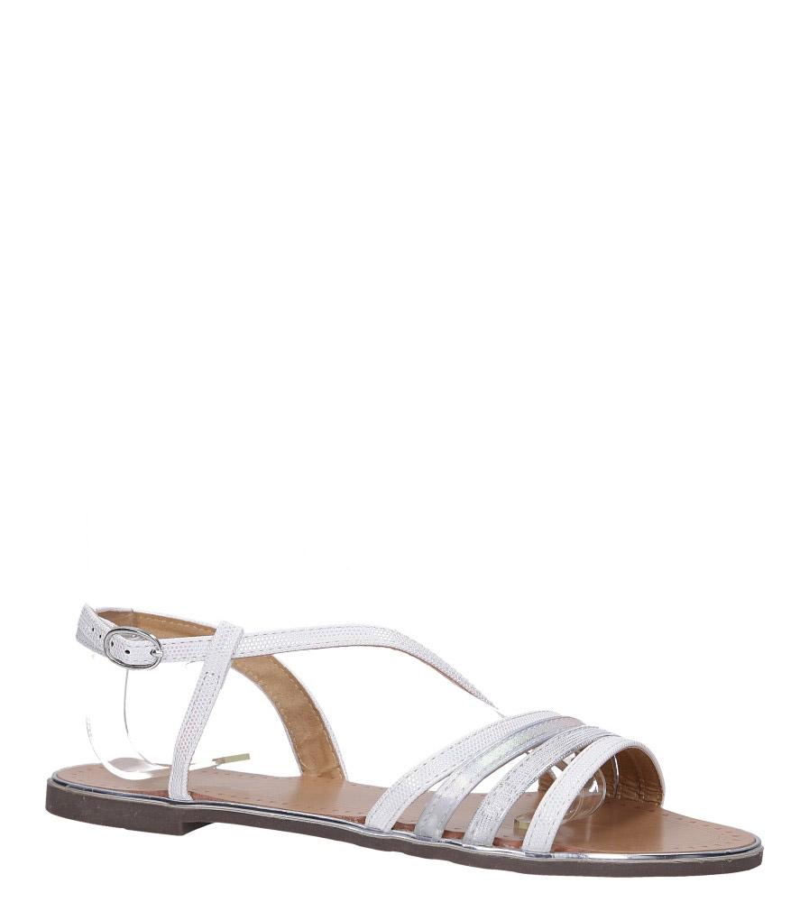 Perłowe sandały metaliczne płaskie Casu S19X6/W