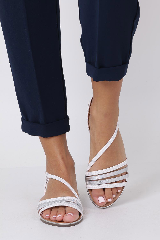 Perłowe sandały metaliczne płaskie Casu S19X6/W wysokosc_obcasa 1 cm