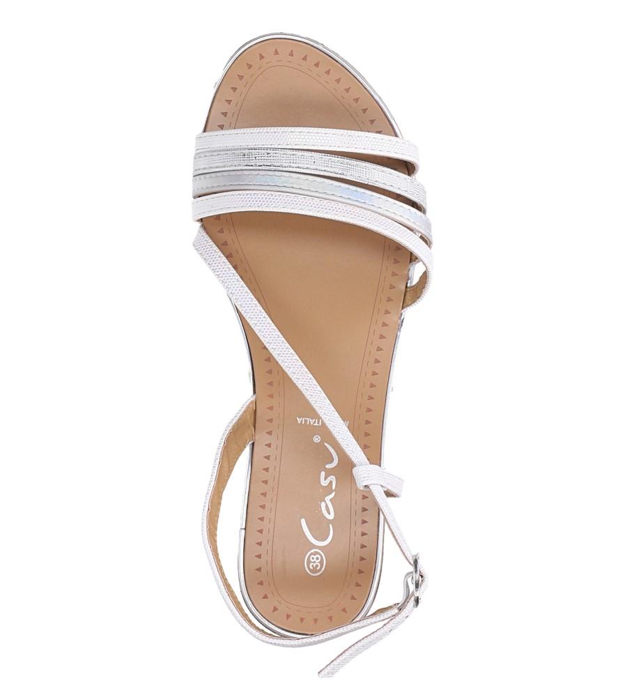 Perłowe sandały metaliczne płaskie Casu S19X6/W wierzch skóra ekologiczna