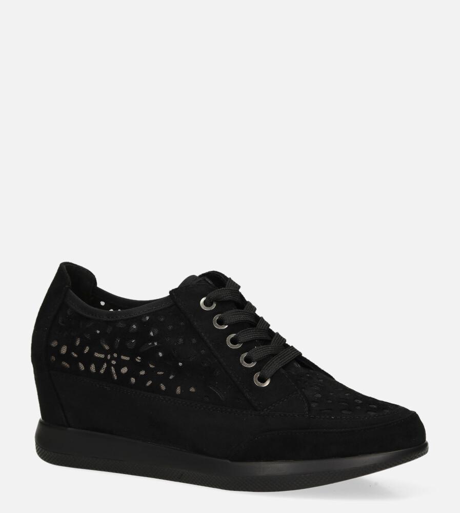 Półbuty Sergio Leone sneakersy ażurowe na ukrytym koturnie sznurowane czarne PB122 czarny