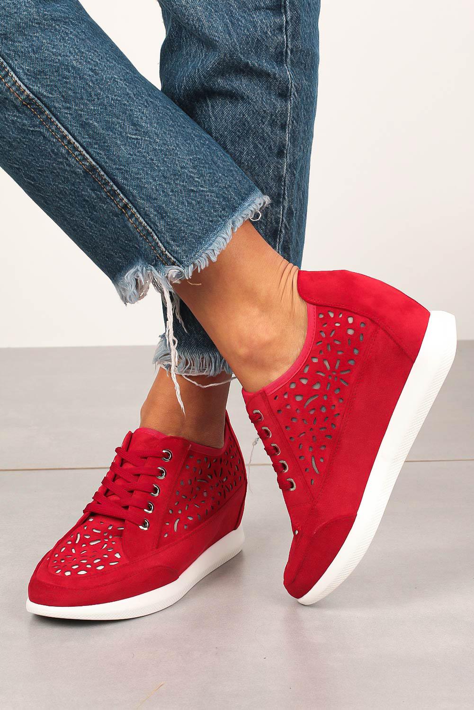 Półbuty Sergio Leone sneakersy ażurowe na ukrytym koturnie sznurowane czerwone PB122 czerwony