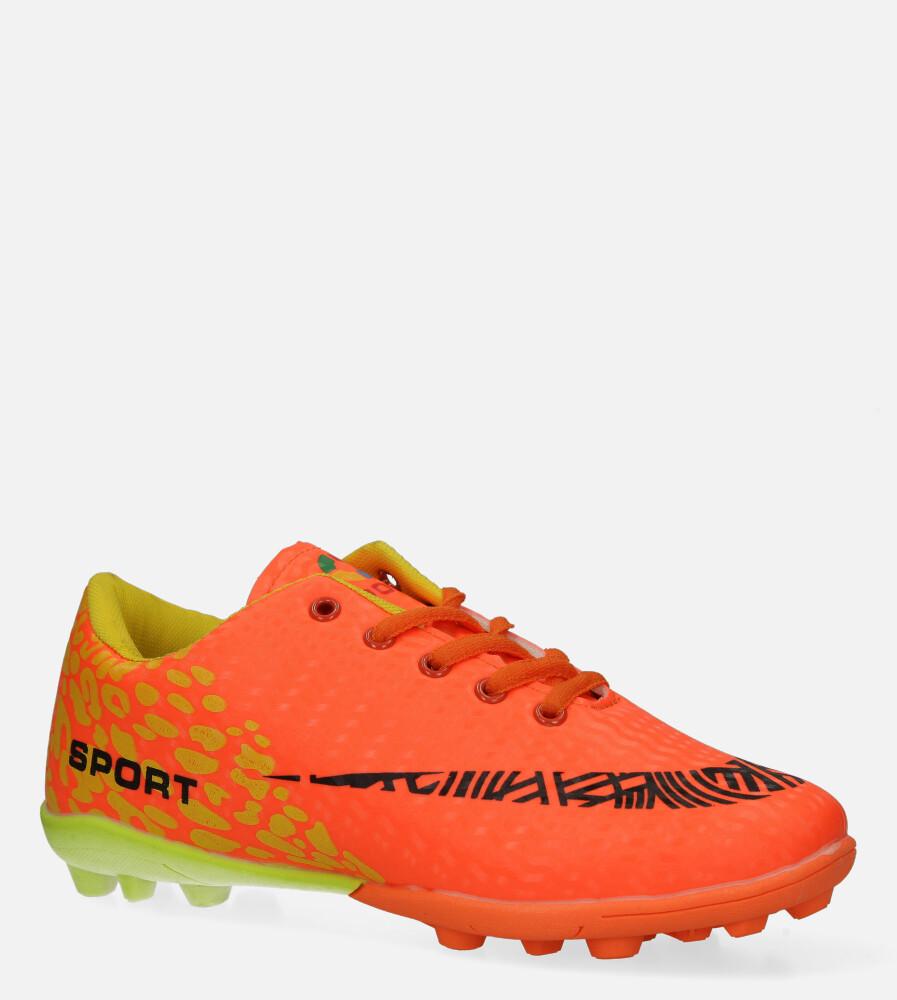 Pomarańczowe buty sportowe korki sznurowane Casu 20M1/M