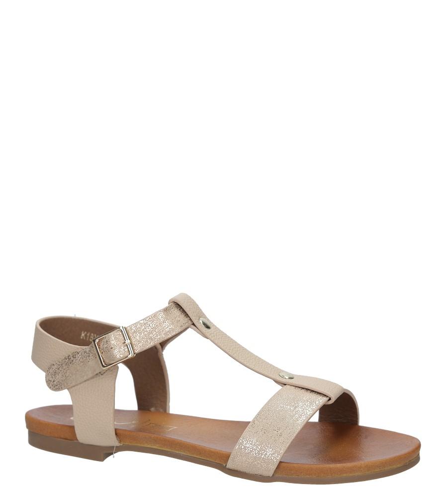 Pudrowe nude lekkie sandały damskie płaskie z paskiem przez środek Casu K18X1/P producent Casu