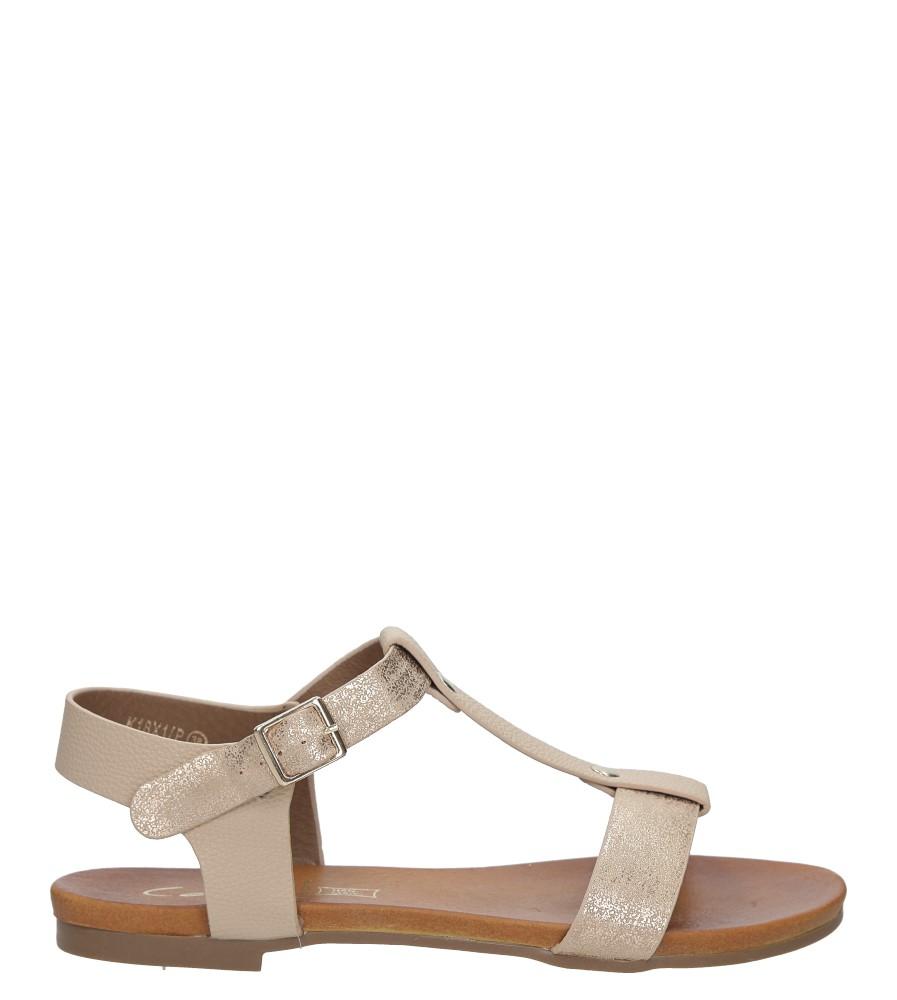 Pudrowe nude lekkie sandały damskie płaskie z paskiem przez środek Casu K18X1/P sezon Lato