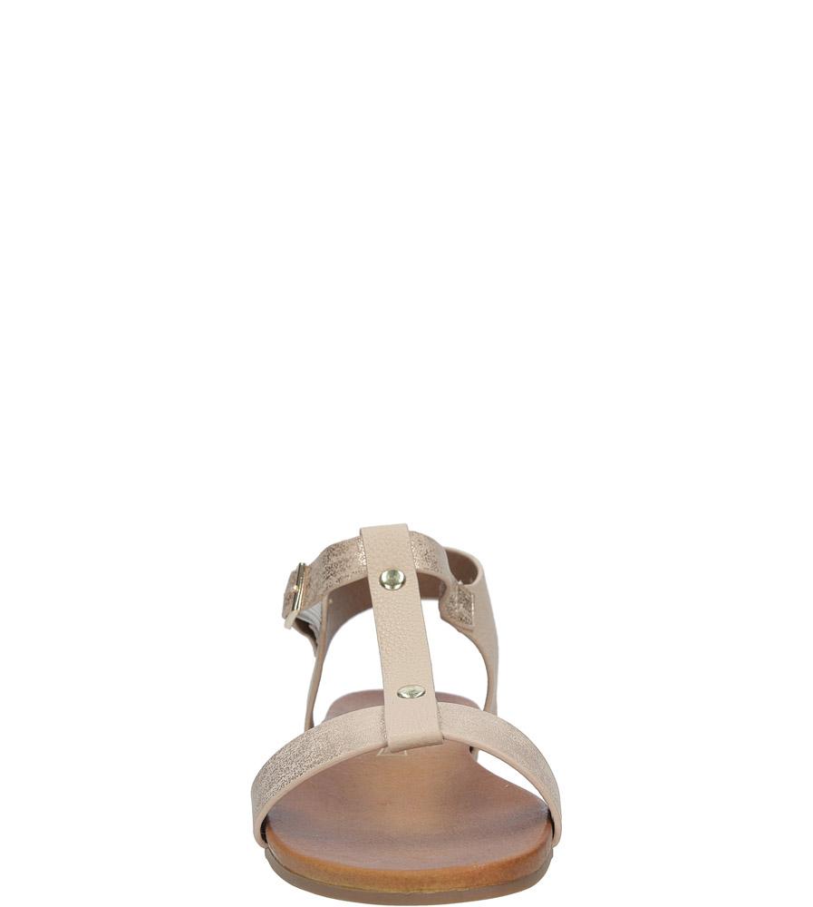 Pudrowe nude lekkie sandały damskie płaskie z paskiem przez środek Casu K18X1/P kolor różowy