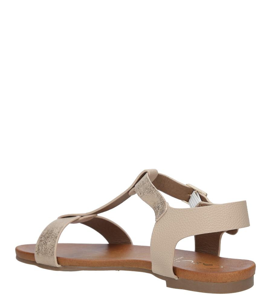 Pudrowe nude lekkie sandały damskie płaskie z paskiem przez środek Casu K18X1/P wysokosc_obcasa 3.5 cm