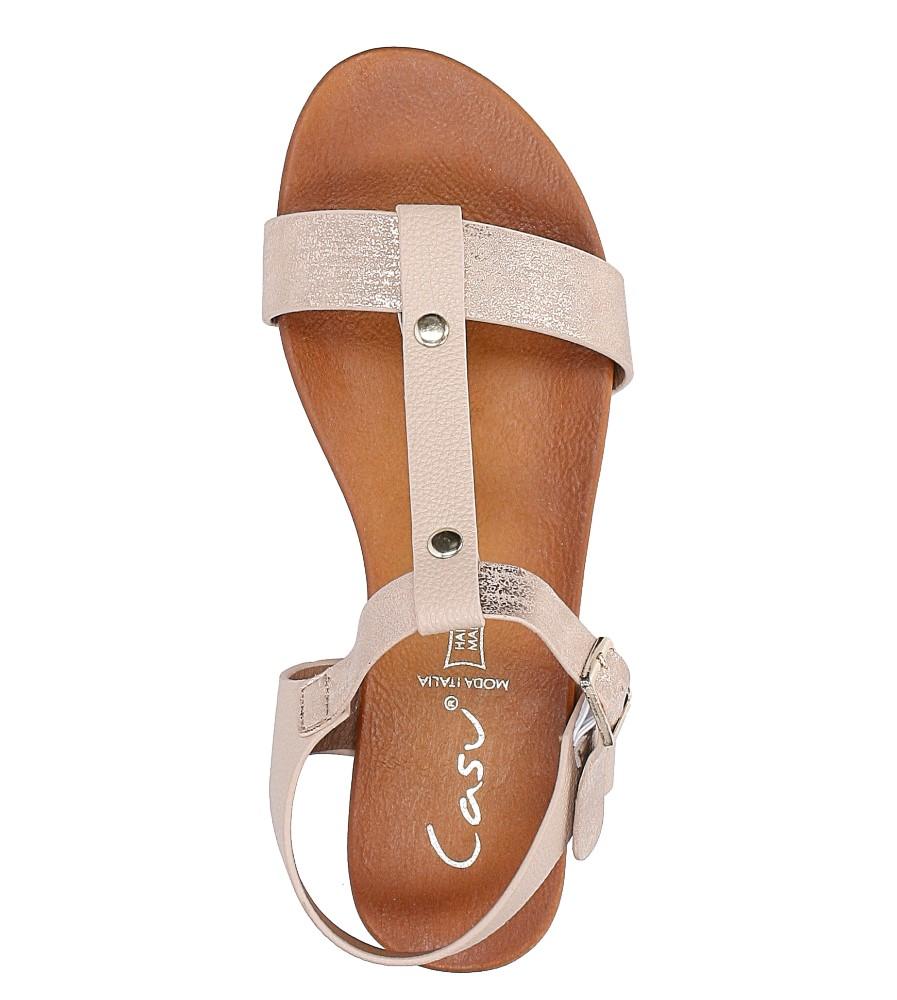 Pudrowe nude lekkie sandały damskie płaskie z paskiem przez środek Casu K18X1/P wysokosc_platformy 2 cm