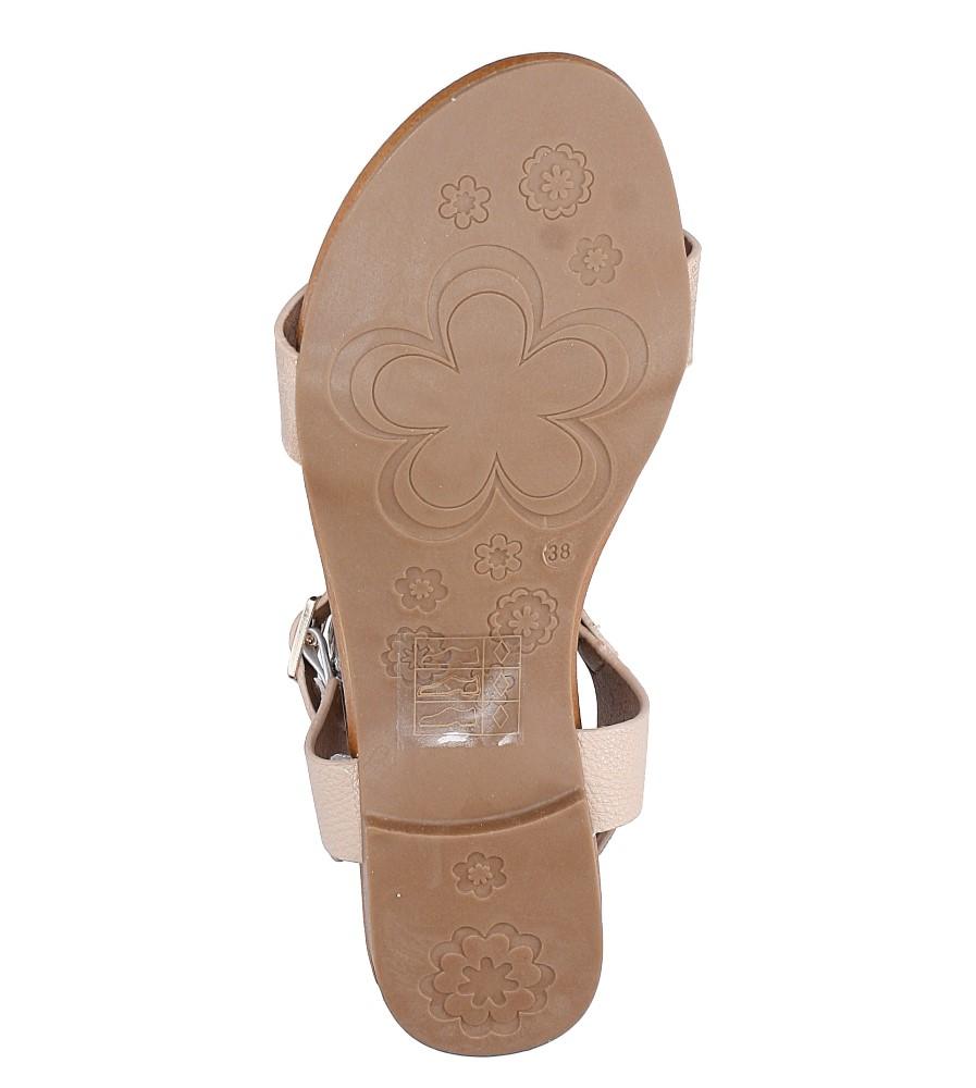 Pudrowe nude lekkie sandały damskie płaskie z paskiem przez środek Casu K18X1/P wys_calkowita_buta 10.5 cm