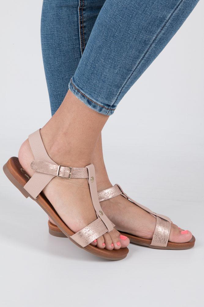Pudrowe nude lekkie sandały damskie płaskie z paskiem przez środek Casu K18X1/P wierzch skóra ekologiczna