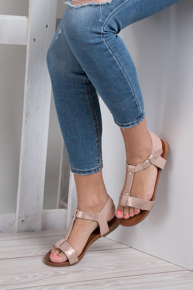 Pudrowe nude lekkie sandały damskie płaskie z paskiem przez środek Casu K18X1/P wnetrze skóra ekologiczna