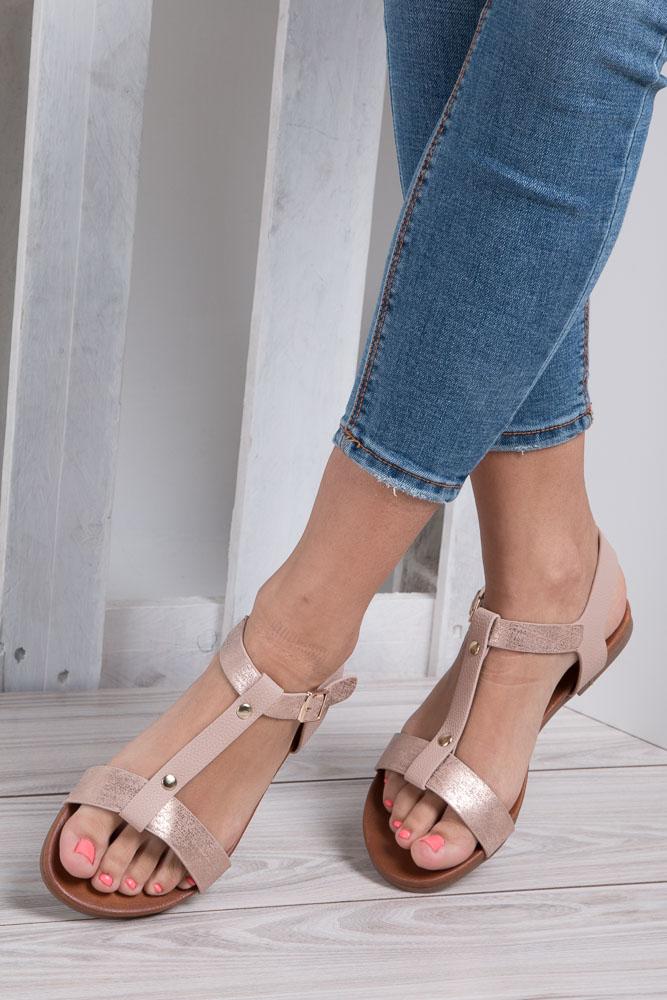 Pudrowe nude lekkie sandały damskie płaskie z paskiem przez środek Casu K18X1/P wkladka skóra ekologiczna