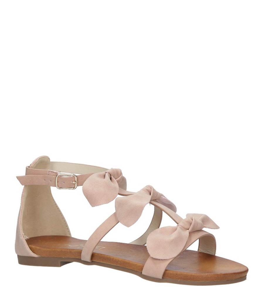 Pudrowe płaskie sandały z kokardkami z zakrytą piętą Casu K18X14/P producent Casu