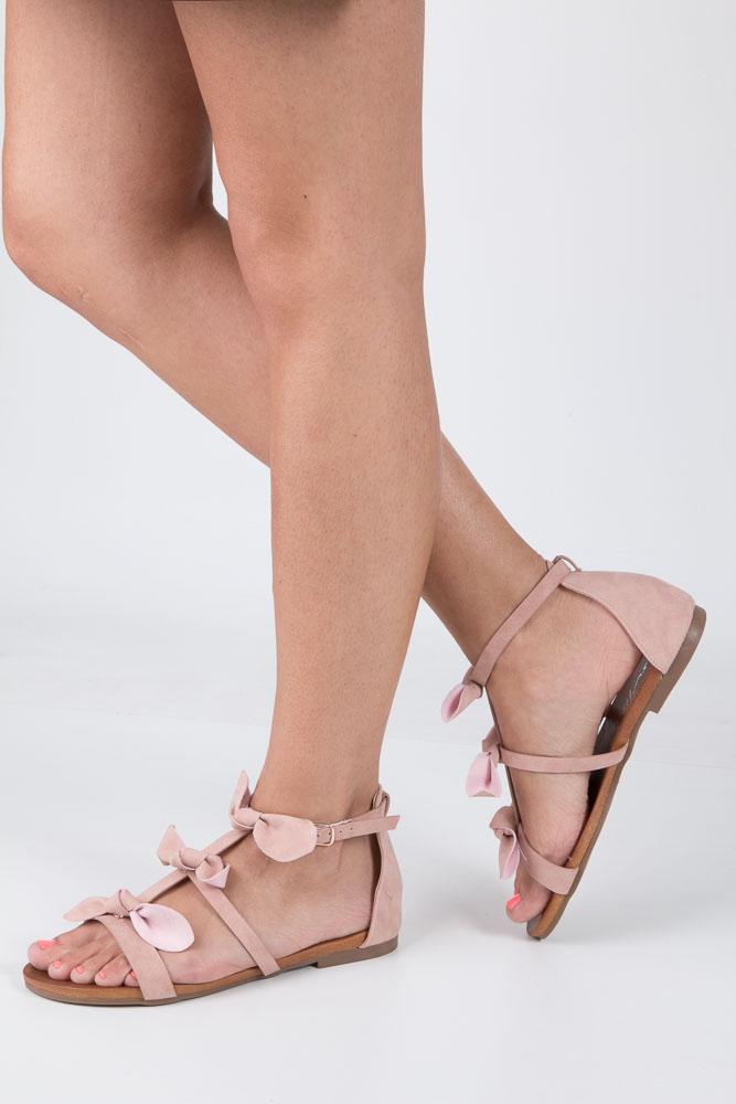 Pudrowe płaskie sandały z kokardkami z zakrytą piętą Casu K18X14/P