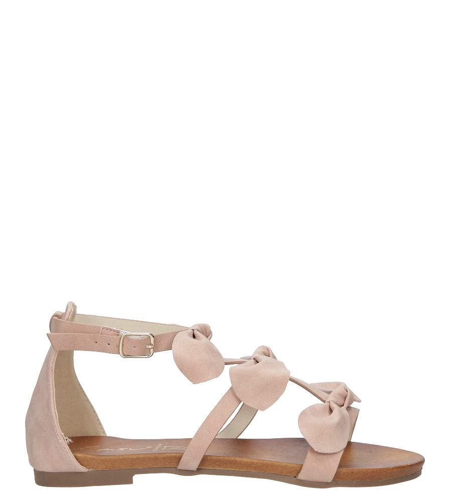 Pudrowe płaskie sandały z kokardkami z zakrytą piętą Casu K18X14/P sezon Lato