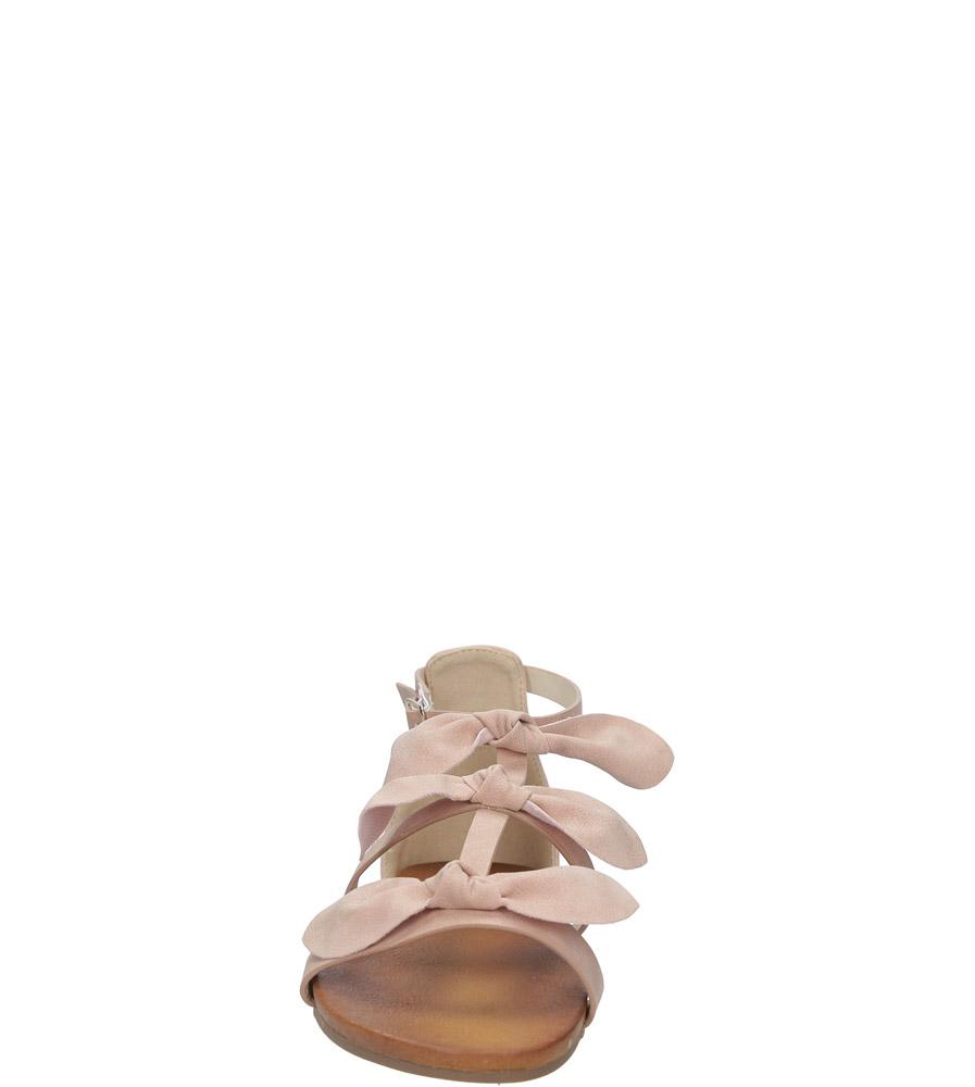 Pudrowe płaskie sandały z kokardkami z zakrytą piętą Casu K18X14/P kolor różowy