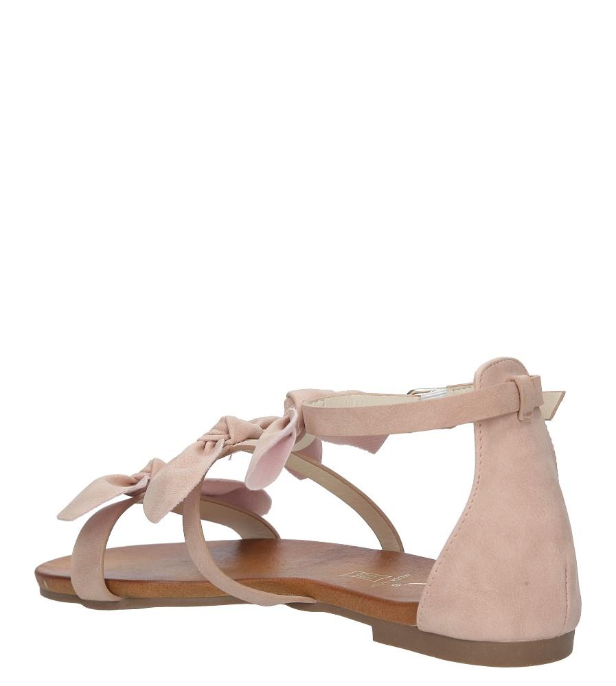 Pudrowe płaskie sandały z kokardkami z zakrytą piętą Casu K18X14/P wysokosc_obcasa 3.5 cm