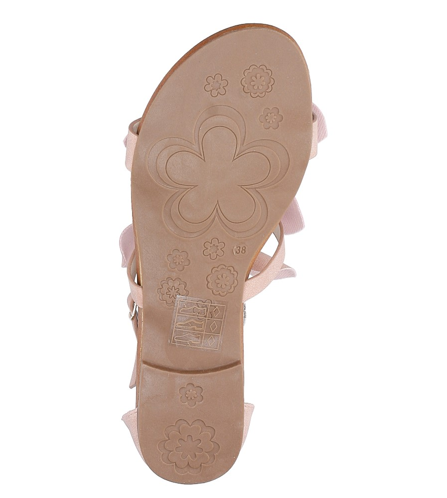 Pudrowe płaskie sandały z kokardkami z zakrytą piętą Casu K18X14/P wys_calkowita_buta 10.5 cm