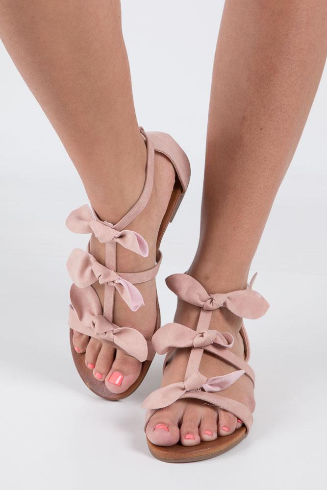 Pudrowe płaskie sandały z kokardkami z zakrytą piętą Casu K18X14/P wierzch skóra ekologiczna