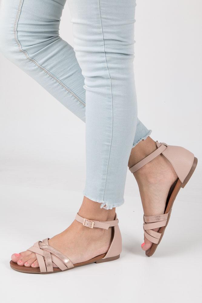 Pudrowy róż eleganckie sandały z zakrytą piętą Casu K18X9/LP model K18X9/LP