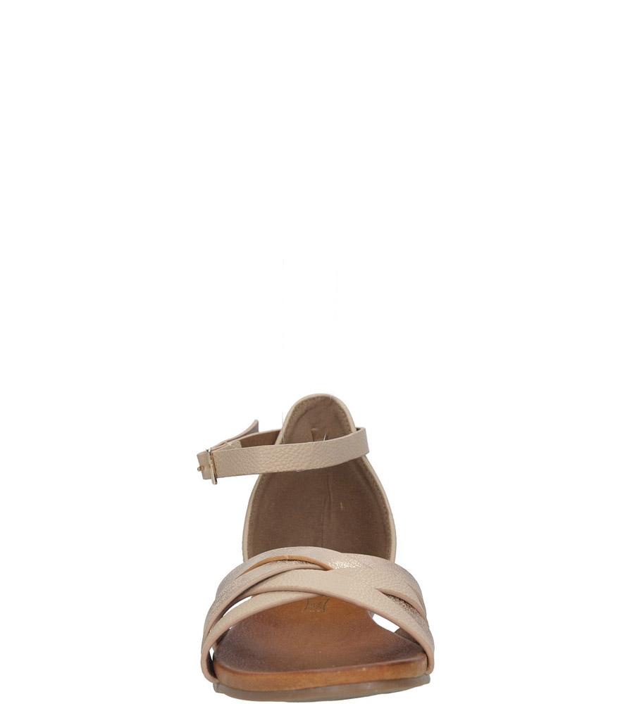 Pudrowy róż eleganckie sandały z zakrytą piętą Casu K18X9/LP kolor jasny różowy