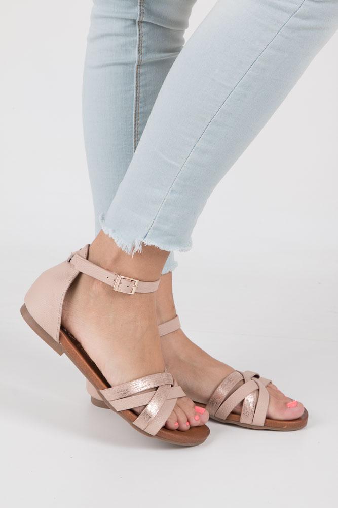 Pudrowy róż eleganckie sandały z zakrytą piętą Casu K18X9/LP wierzch skóra ekologiczna