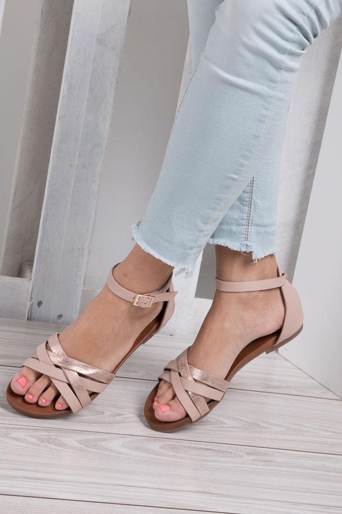 Pudrowy róż eleganckie sandały z zakrytą piętą Casu K18X9/LP wkladka skóra ekologiczna