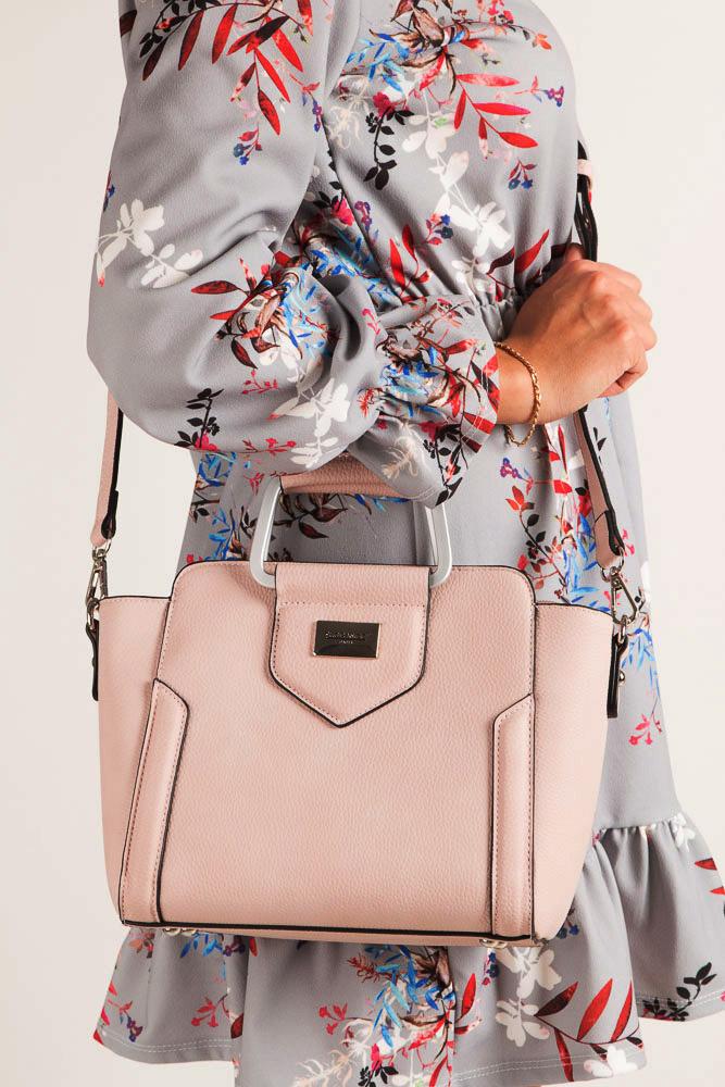 Różowa torebka do ręki Casu S6397