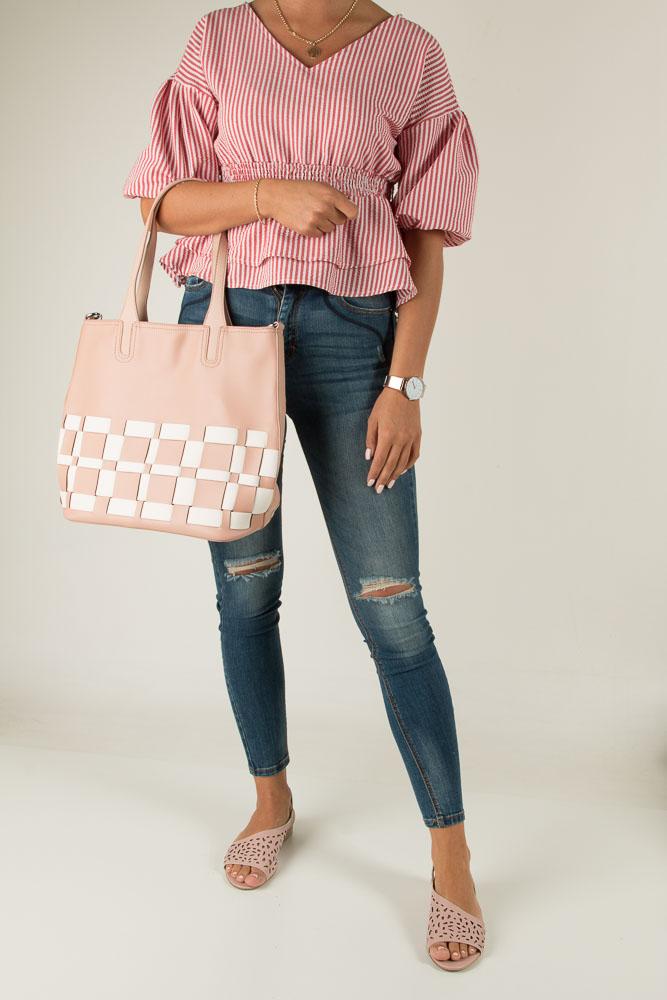 Różowa torebka kratka Casu L81