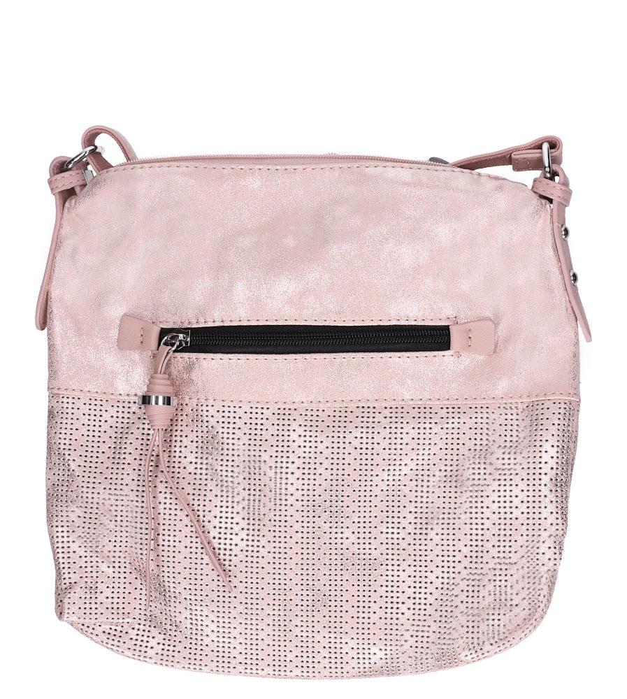 Różowa torebka listonoszka ażurowa z kieszonką z przodu Casu 3131-BB