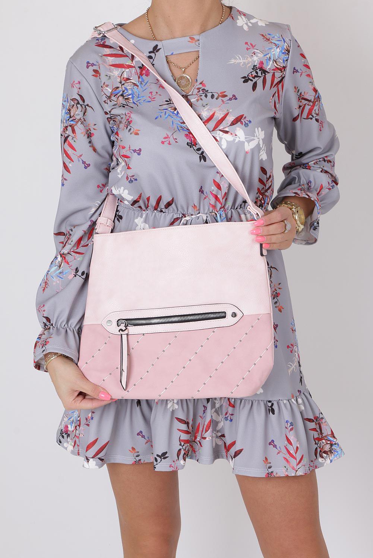 Różowa torebka listonoszka z kieszonką z przodu i ozdobnymi suwakami Casu AD-52 producent Casu