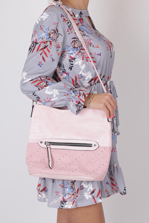 Różowa torebka listonoszka z kieszonką z przodu i ozdobnymi suwakami Casu AD-52 sezon Lato