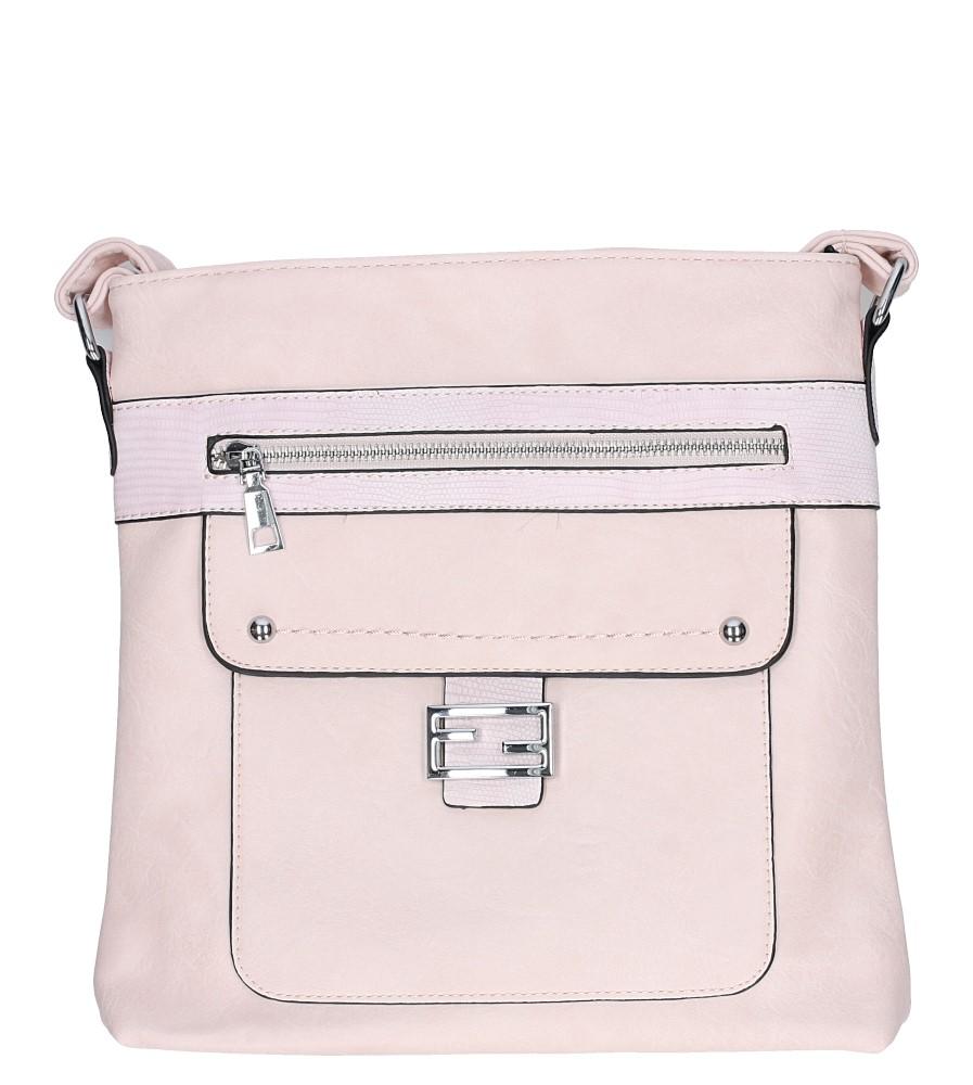 Różowa torebka listonoszka z metalową ozdobą Casu D54