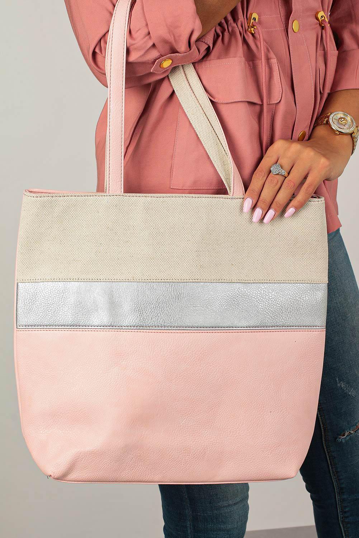 Różowa torebka w pasy Casu AD-55