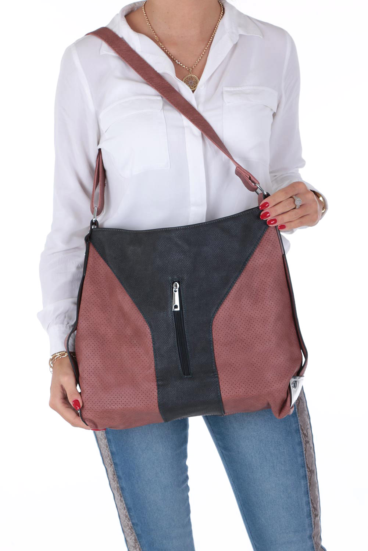 Różowa torebka z kieszonką z przodu Casu 2949-BB