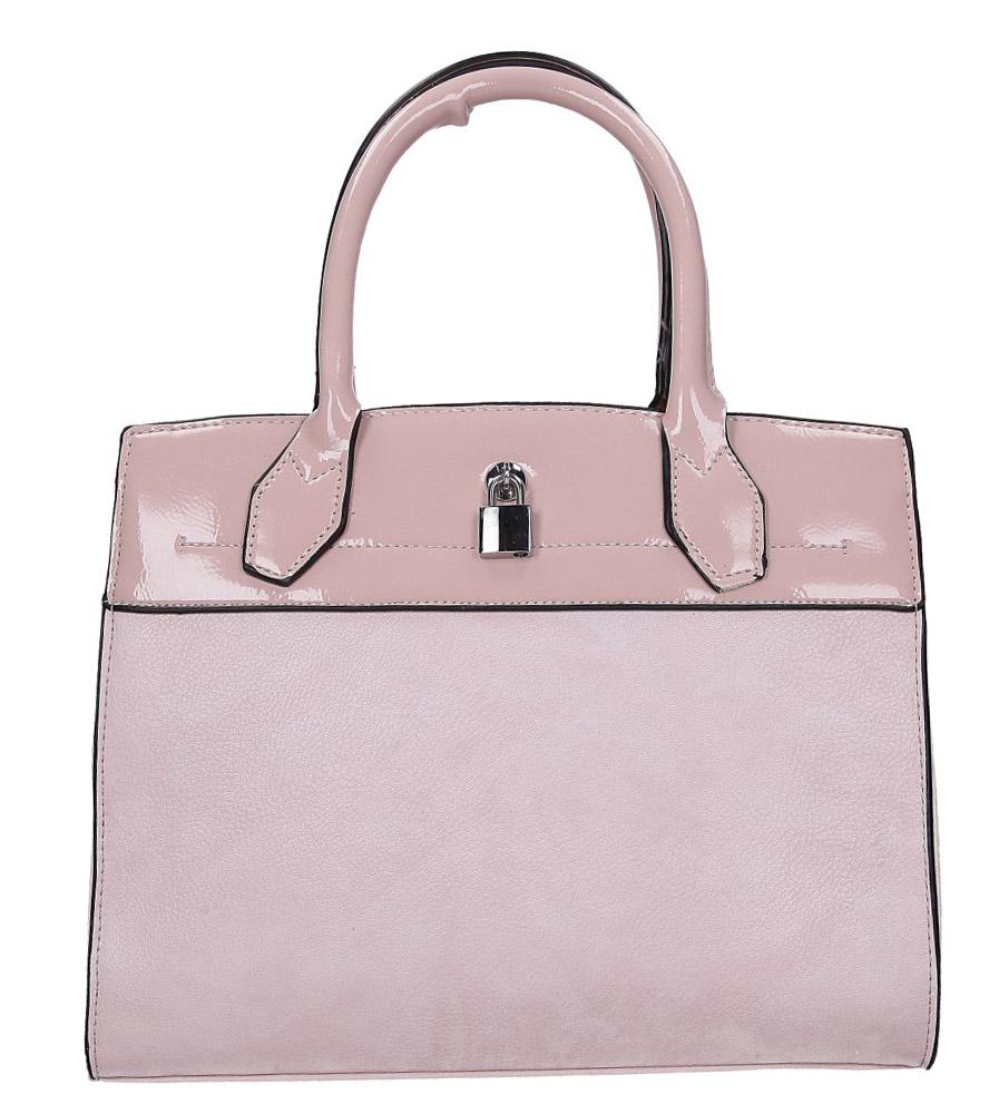 Różowa torebka z metalową ozdobą Casu AD-43