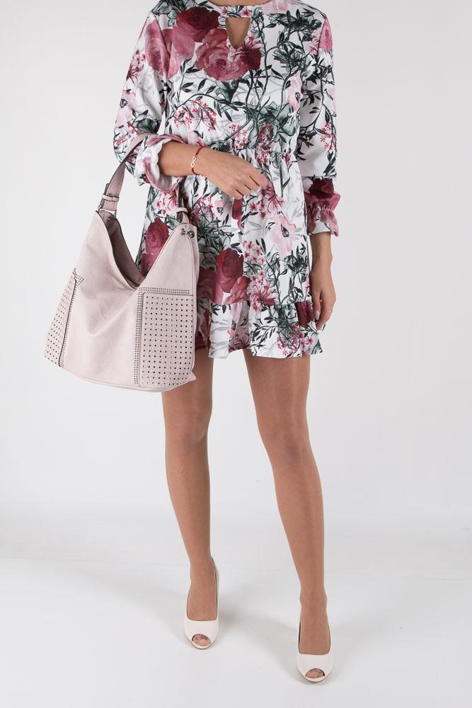 Różowa torebka z nitami Casu 2063
