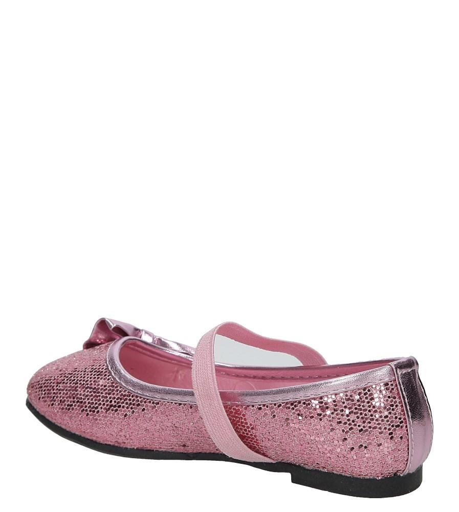 Różowe baleriny błyszczące z kokardą Casu D08D-3 kolor różowy
