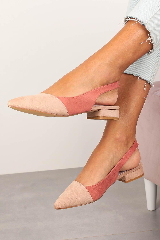 Różowe baleriny Casu z odkrytą piętą ze skórzaną wkładką D20X16/P jasny różowy