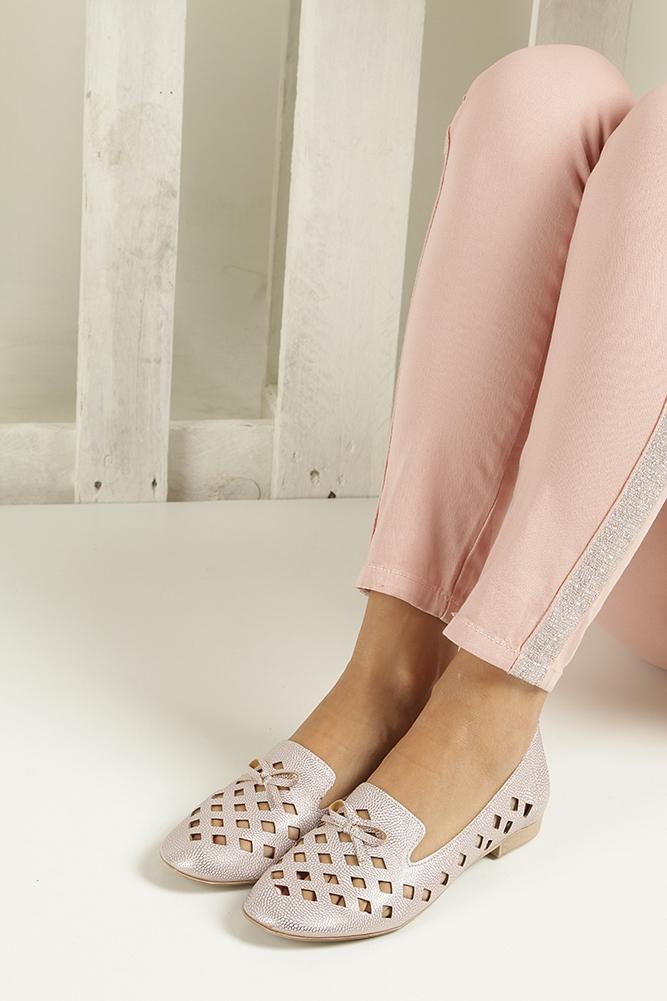 Różowe baleriny lordsy ażurowe  Casu 3112 wys_calkowita_buta 8 cm
