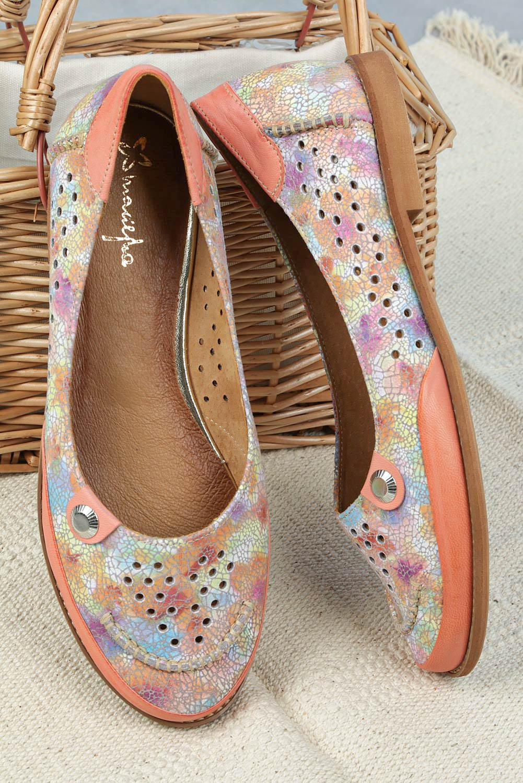 Różowe baleriny Maciejka skórzane ażurowe mozaika 03957-18/00-5 różowy