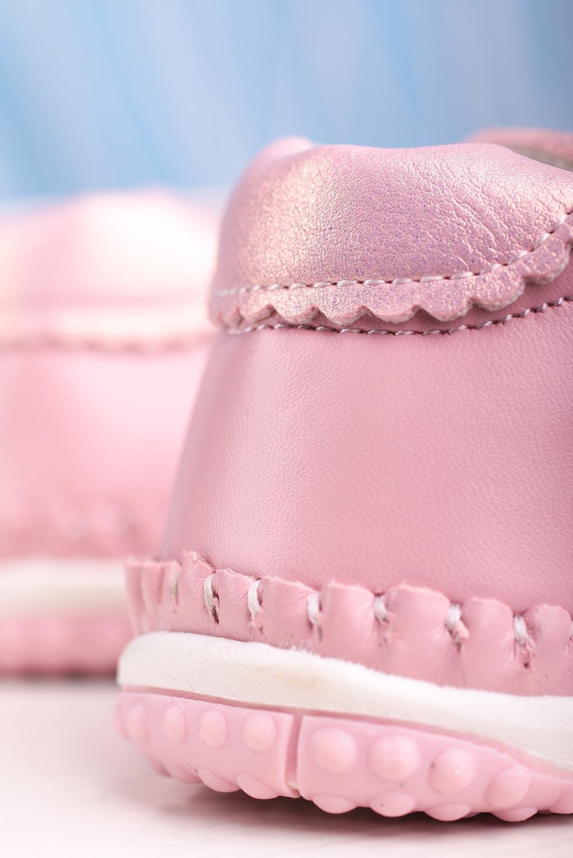 Różowe baleriny niemowlęce niechodki ze skórzaną wkładką na rzep Casu FC19-15