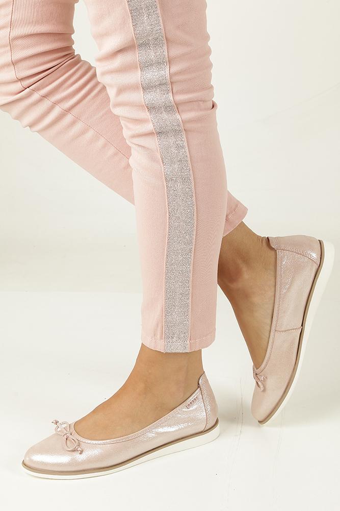 Różowe baleriny skórzane z kokardką Nessi 77706 model 77706