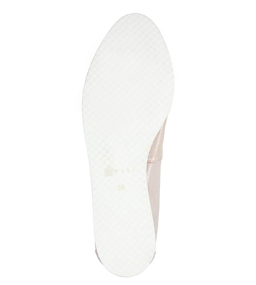 Różowe baleriny skórzane z kokardką Nessi 77706 wys_calkowita_buta 9 cm