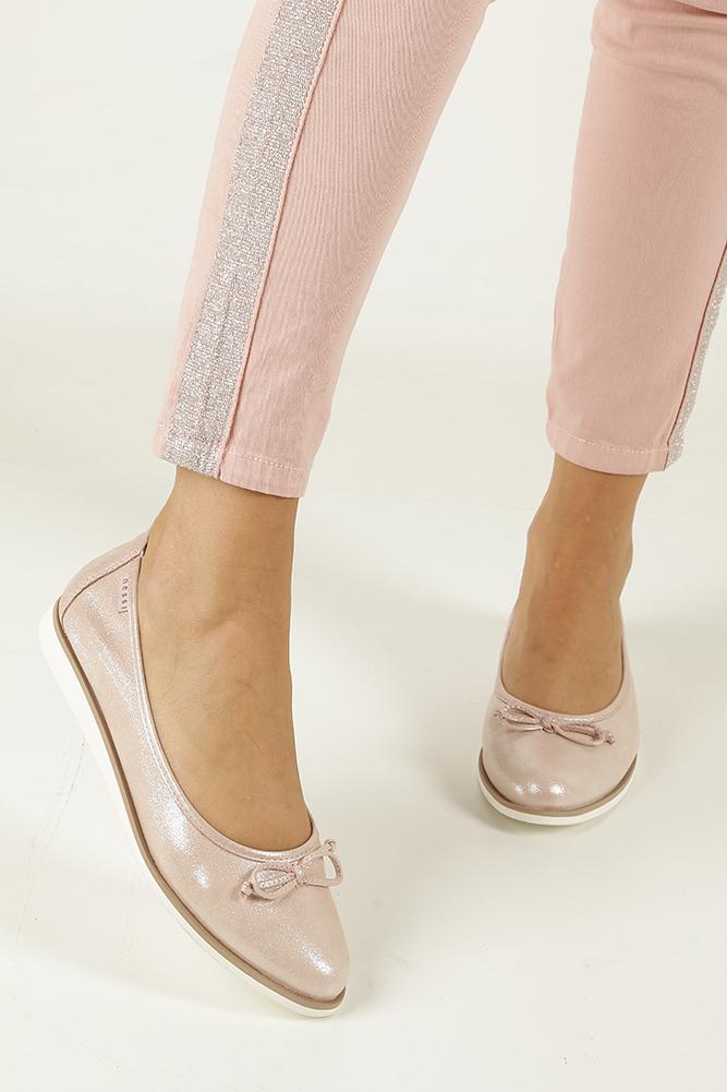 Różowe baleriny skórzane z kokardką Nessi 77706 wierzch skóra naturalna - licowa