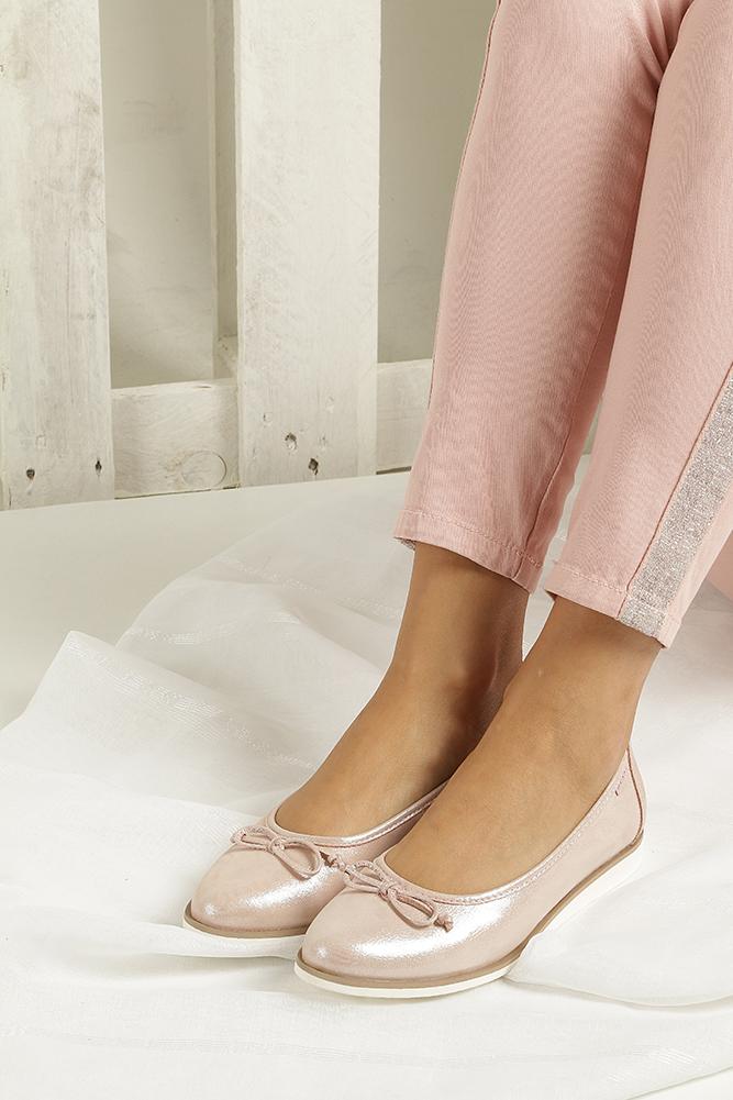 Różowe baleriny skórzane z kokardką Nessi 77706 wnetrze skóra