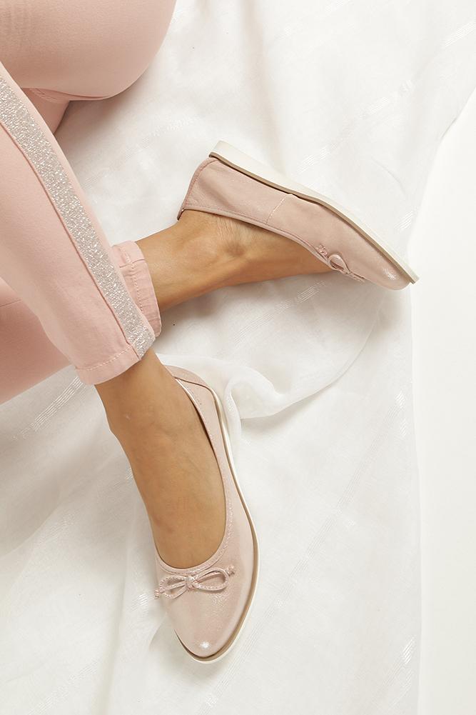 Różowe baleriny skórzane z kokardką Nessi 77706 wkladka skóra