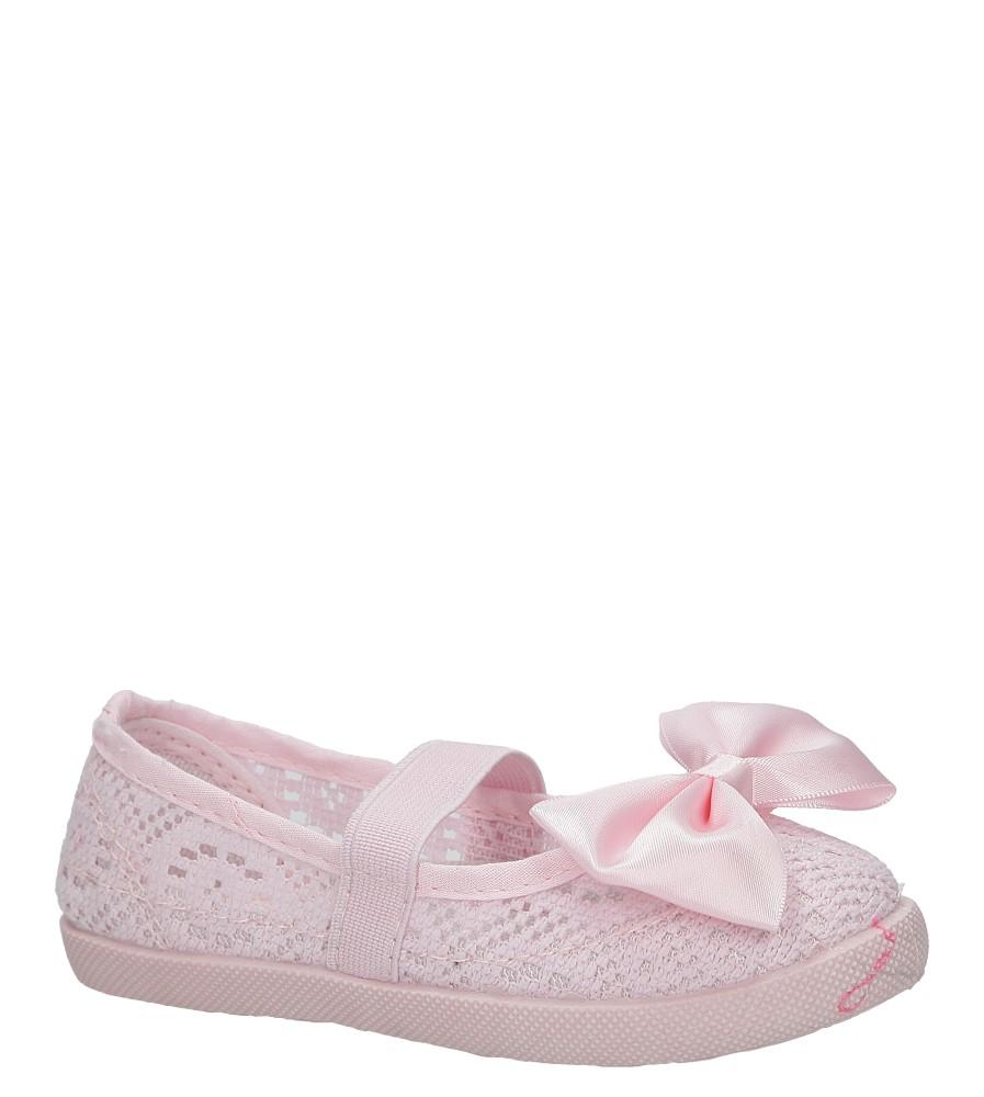 Różowe baleriny slip on ażurowe z kokardą Casu CB-S153