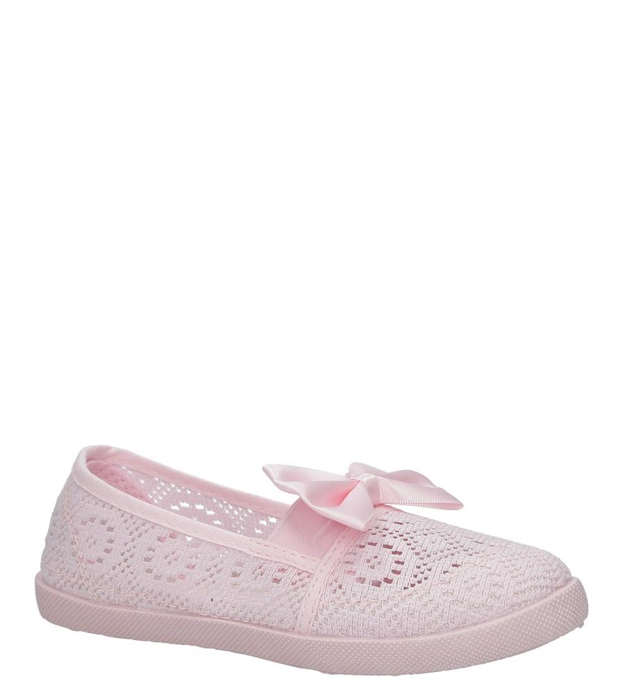 Różowe baleriny slip on ażurowe z kokardą Casu CB-X151